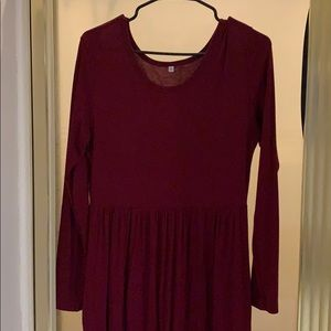 Maroon long sleeve long dress